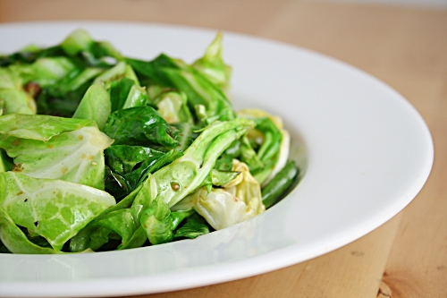 Stir-fried spring greens with garlic and soy