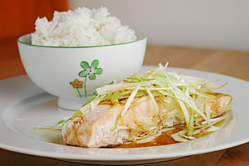 Steamed salmon with spring onions, ginger and a hot soy sauce dressing