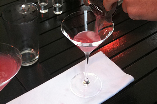Pouring a Cosmopolitan Cocktail