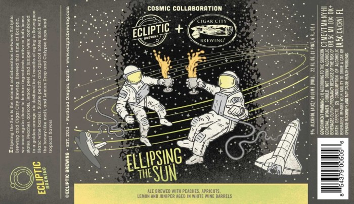 Ecliptic and Cigar City Ellipsing the Sun Ale Brewed with Peaches, Apricots, Lemon and Juniper. Aged in White Wine Barrels