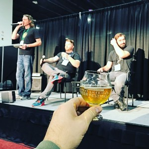 Enjoying a Jester King Spontaneous Blend during the Spontaneous Fermentation panel