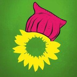 Männer haben Denkmäler, Frauen haben Zukunft; Grünes Logo mit Pussyhat