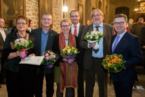 v.l.n.r.: Roswitha Goydke, Dr. Jens Schütte, Sabine Kluth, OB Ulrich Markurth, Dr. Udo Klitzke, Adalbert Wandt (Foto: Stadt BS / Daniela Nielsen)