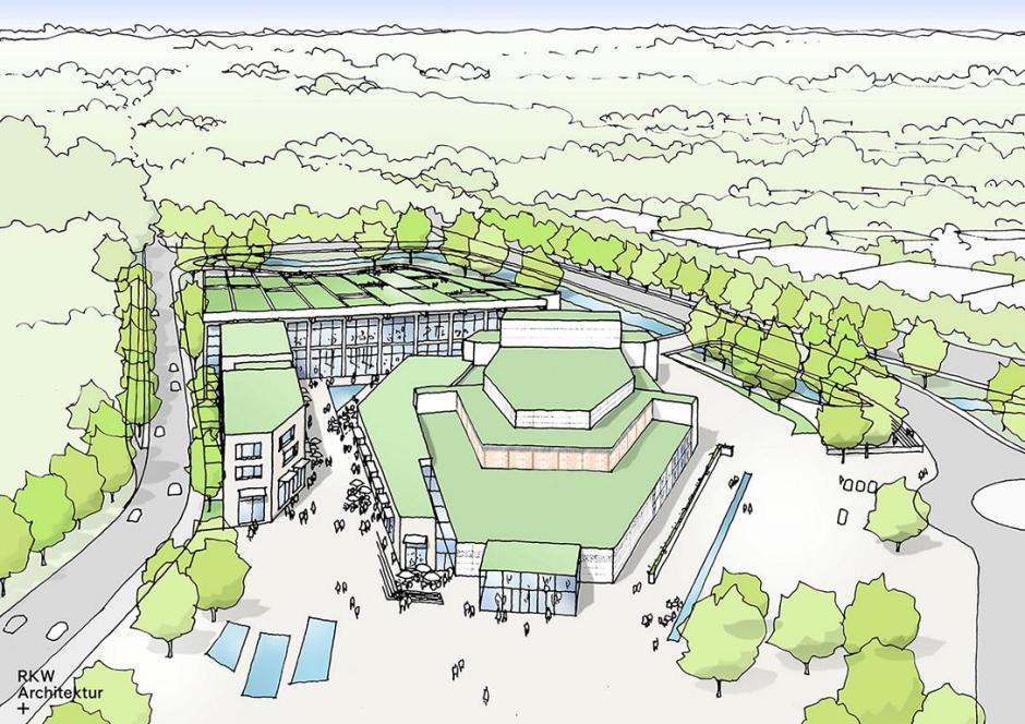 """Meinerzhagen, Neues Stadthallenareal, Planung © Skizze: """"RKW Architektur +"""""""