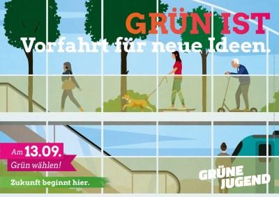 Plakatmotiv GRÜN IST Vorfahrt für neue Ideen - Bahn, Rad und Fußverkehr