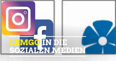 Symbolbild Facebook-Logo, Instagram-Logo und Logo der Stadt Lemgo mit Text Lemgo in die sozialen Medien,