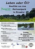 Plakat Diskussion Yasuní-Nationalpark