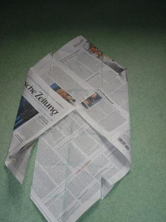 Die nicht eingeschnittenen Ecken werden jetzt auf die Mitte gefaltet. Die Spitzen bleiben kleben, die Seiten werden hochgefaltet.