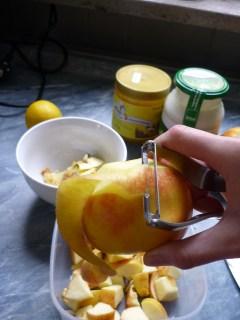 Eine Hälfte der Äpfel schälen, eine mit Schale kleinschneiden.