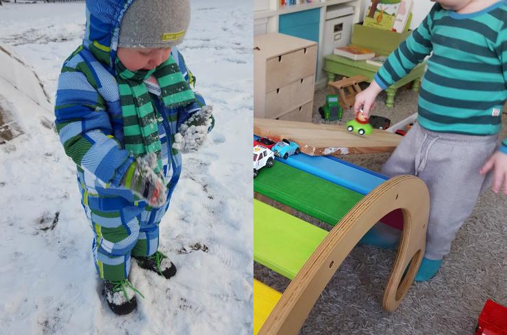 Spaß im Schnee und Lieblingsbeschäftigung Autorutsche