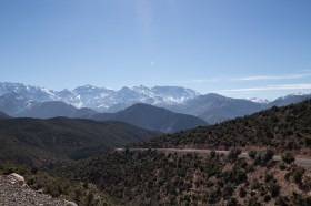 View of snow covered Atlas Mountains