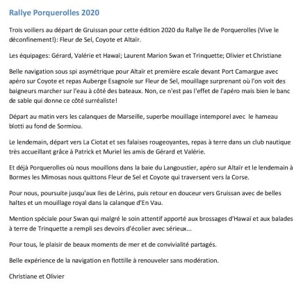 Article Rallye porquerolles 2020