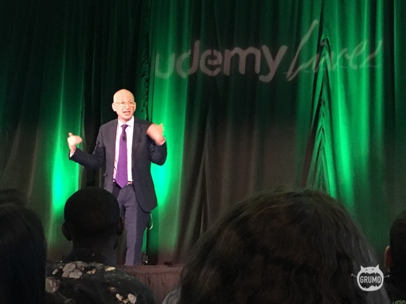 Seth Godin sharing his wisdom in front of 150 Udemy instructors
