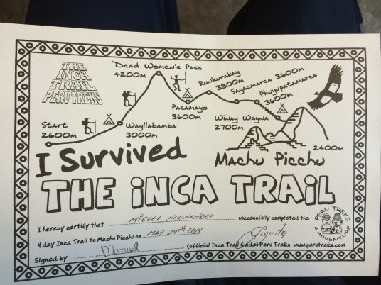 Certificate of Inca Trail Completion