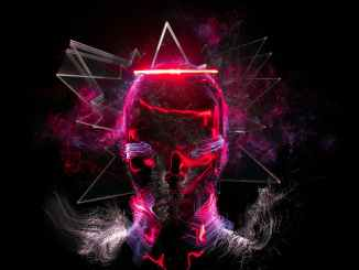 black and purple skull with light