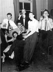 'Rag Review' party, Coton House (the apprentice hostel), Rugby, 1957. With Julian, Dave, Brian, Peter, John and Rita. I wonder where they all are now. The 'review' was a variety show we students at the then Rugby College of Advanced Technology put on each year at the end of 'Rag Week'