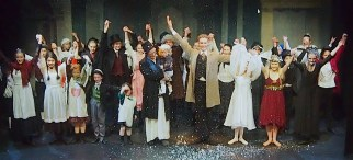 All the cast give their final bow with hands in the air