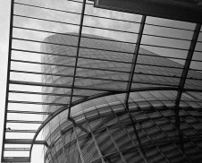 View of the glass tower looking up from the bottom