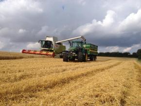 Mejetærsker og traktor