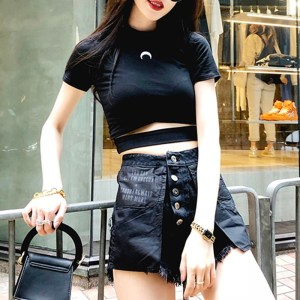 Crop top e-girl Lune noire