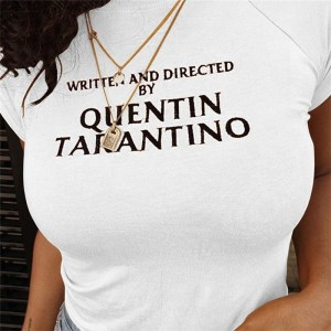 t-shirt written and directed by quentin tarantino blanc