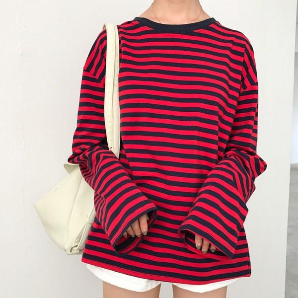 T-shirt long grunge rouge
