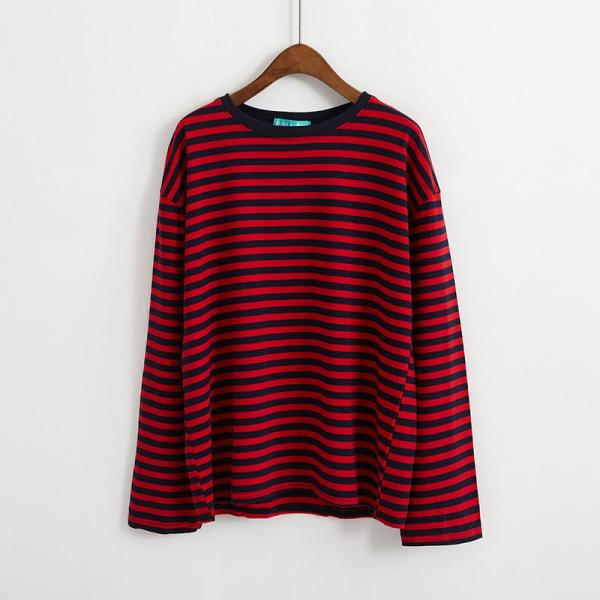 T-shirt long style grunge rouge