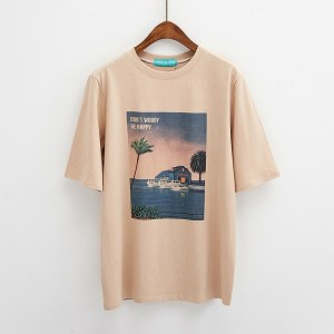 T-shirt tumblr dont worry be happy couleur beige