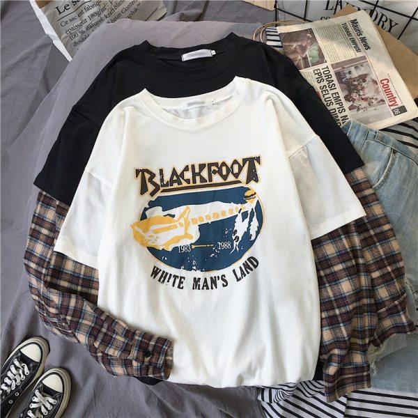 T-shirt grunge et egirl Blackfoot couleur blanc