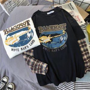 T-shirt grunge et egirl Blackfoot couleur noir