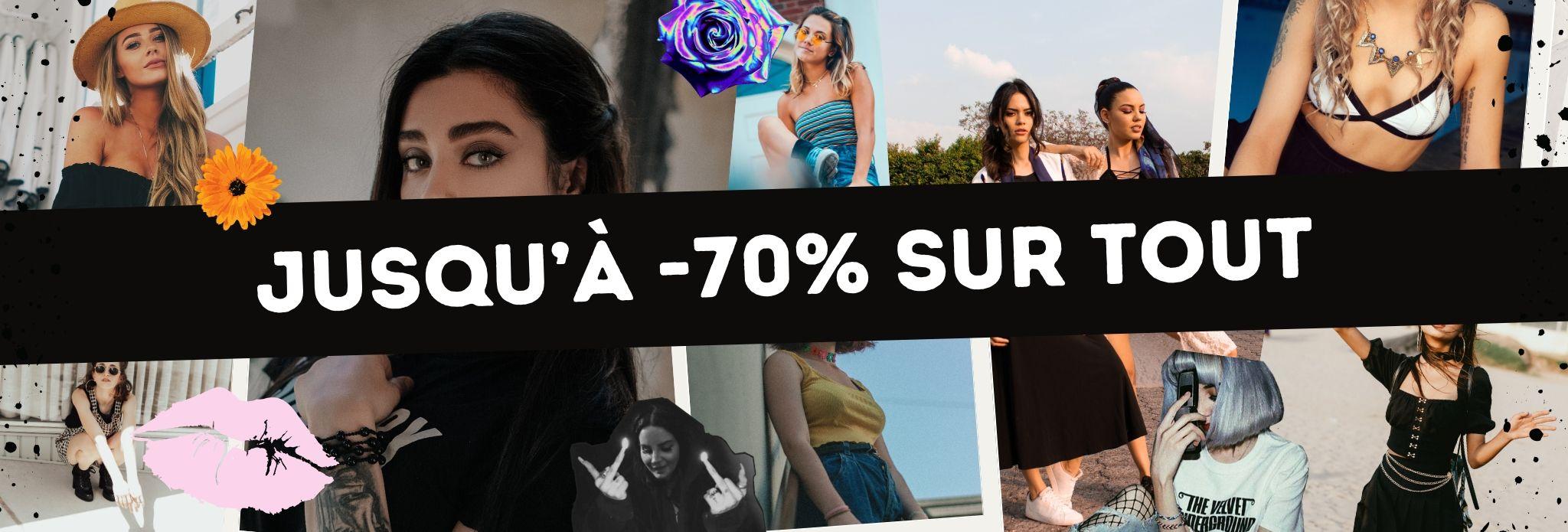 Bannière de promotion jusqu'à -70% sur nos vêtements
