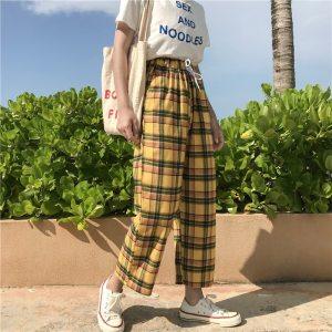 Pantalon vintage à carreaux cossy