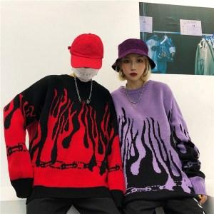 Pull en laine Streetwear - Flamme