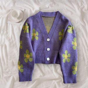 Pull en laine - Fleurs tumblr