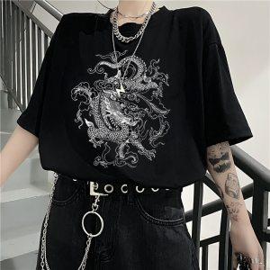 T-shirt streetwear - Dragons coréen