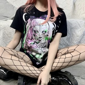 T-shirt long - Gothic girl