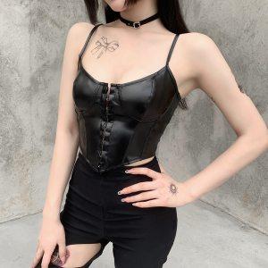 Buste en cuir gothique - Cuir noir