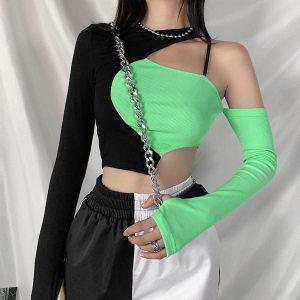T-shirt streetwear bi-couleurs - BlackGreen