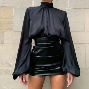 Jupe imitation cuir - Courte