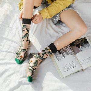 Chaussettes fleuris - Transparente