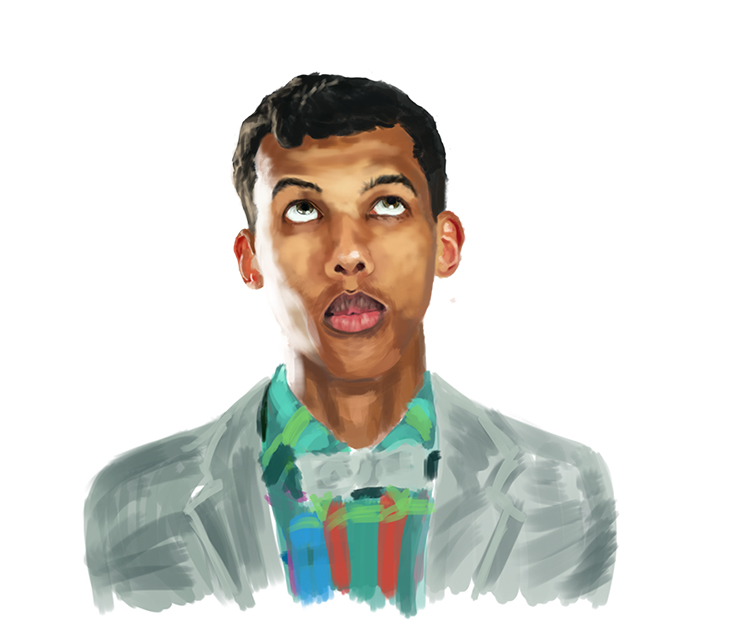 A painting of Stromae by Bjergsen