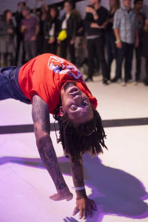A member of the Flex dancer group performs at The D.R.E.A.M. Project at National Sawdust in Brooklyn, NY, on 13 October, 2015.