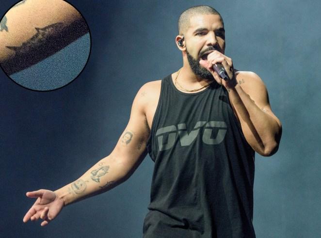 Drake camo shark tattoo