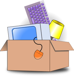 A box with different items inside