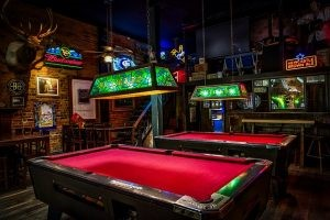 Bar with pool tables.
