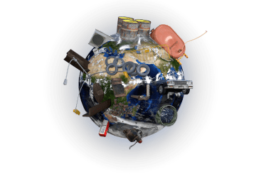 Planet Earth covered in junk, tires, old electronic devices, an old car, etc.