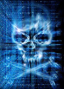 hacker attack with skull background