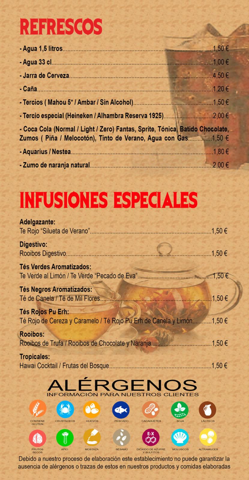 carta de productos - refrescos e infusiones