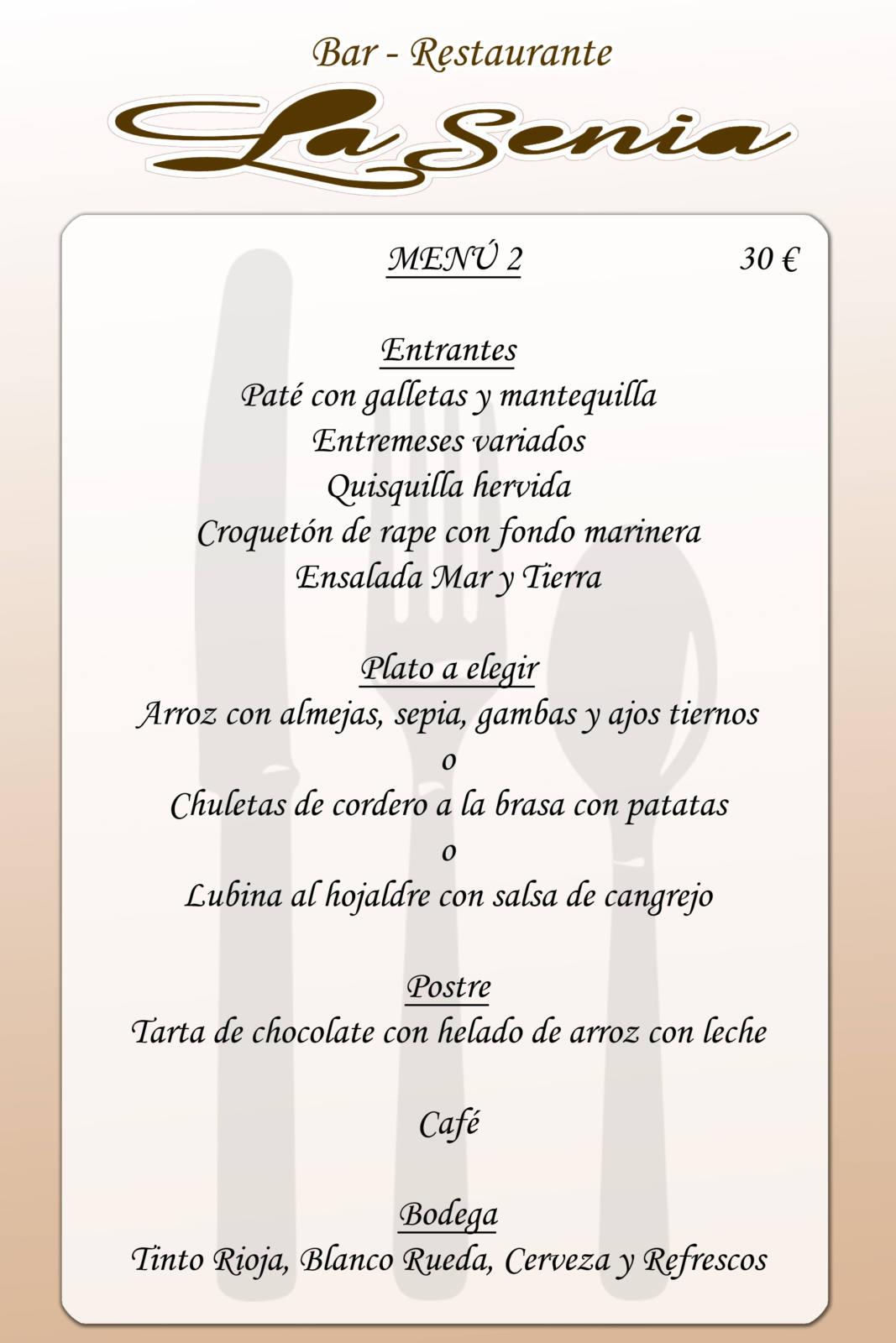 Menú restaurante la Senia - Callosa de Segura