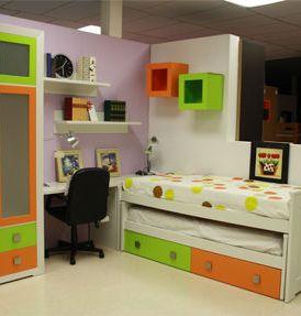 Dormitorio Juvenil Blanco Verde y Naranja